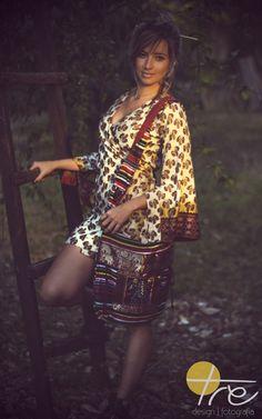 Kimono e bolsa de Jaipur, Índia.