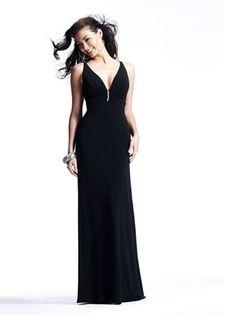 Column Black Strap Deep V-neck Beaded Open Back Floor-length Prom Dress