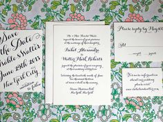 See the newest trends in wedding invites, programs and save-the-dates -- from gold foil to custom monograms. Wedding Invitation Trends, Wedding Stationary, Wedding Calligraphy, Stationery Set, Menu Cards, Diy Wedding Decorations, Youre Invited, Letterpress, Save The Date