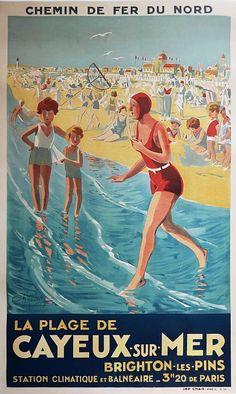 ✨ Ch. Roussel [?] - La Plage de Cayeux sur Mer. Brighton les Pins. Chemin de Fer du Nord. 1920s, Imp. Chaix, Paris