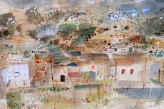 John Piper, La Destrousse (Southern France), date? watercolour and ink on paper, 36 x 51 cm. Coventry Cathedral, John Piper, The Saleroom, Watercolor Techniques, Art Auction, Watercolor And Ink, Antique Art, Printmaking, Southern France