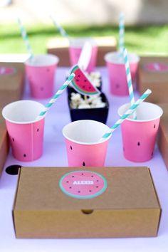 Watermelon guest table from a One in a Melon Watermelon Birthday Party via Kara's Party Ideas KarasPartyIdeas.com (11)