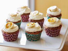 All the flavors of hummingbird cake remain in these cute cupcakes, each topped with cream cheese frosting and caramelized banana.