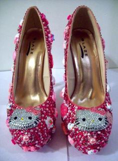 HELLO KITTY HEELS (Sparkle Kitty),  Shoes, Hello Kitty Spikes Pink Glitter, Chic