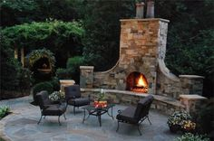 I love this outdoor fireplace!