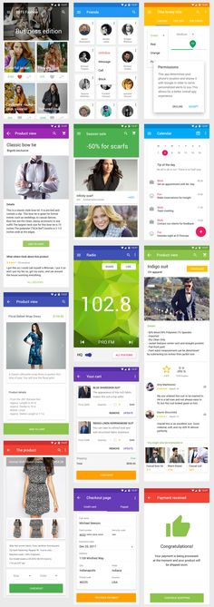 onn is a premium and retina ready Material Design UI Kit that incorporates 100 drag and drop UI templates, organized in 8 different categories and designed at 1920 x 1080 pixels. The PSD files can be opened with Photoshop Android App Design, Ios App Design, Iphone App Design, Ux Design, Android Ui, Mobile Application Design, Mobile Ui Design, Google Material Design, Illustrator