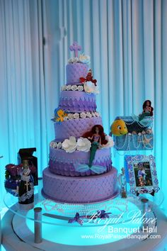 Five layer purple little mermaid theme cake for baptism at Royal Palace Banquet Hall Glendale CA 818.502.3333.