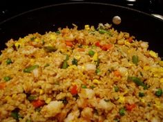 I have been salivating all day thinking about cooking shrimp fried rice along with sesame chicken for dinner tonight. It was definitely wor. Entree Recipes, Side Dish Recipes, Seafood Recipes, I Love Food, Good Food, Yummy Food, Shrimp Fried Rice, Recipes From Heaven, Rice Dishes