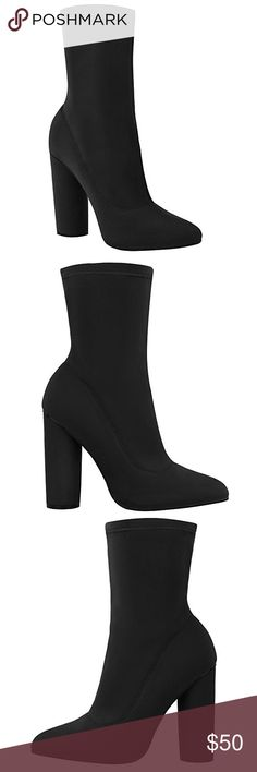 "Women's Lycra ankle boots. NWT in box! Size 6 Synthetic Synthetic sole Heel measures approximately 4.3 inches"" Stylish Boots With Pointed Toe And Unsual Cylinder Shaped Block Heel Approx Heel Height: 4.3 Inches / 11 cm Approx Platform Height: 0.4 Inches / 0.9 cm Slip On Elasticated Fastening Shoes Heeled Boots"