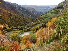 Les lacets de Septmoncel. An autumn view of the hair-pin bends leading from Saint-Claude to the mountain village of Septmoncel.