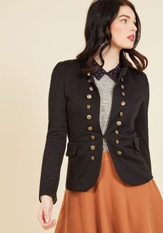 I Glam Hardly Believe It Jacket in Black - Black, Solid, Buttons, Pockets, Military, Long Sleeve, Summer, Fall, Knit, Good, Collared, Mid-length, Variation, Casual, Nautical, Exclusives, Work, Spring, Winter, Steampunk, 1