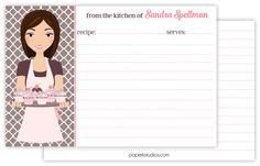 4x6 personalized recipe cards, set of 25 double sided recipe cards for bridal showers or housewarming gift - dark brown hair by PaperKStudios on Etsy