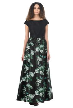 f1df26a02a1b Timeless and radiant chrysanthemum print polydupioni enriches our  fit-and-flare party dress pleated