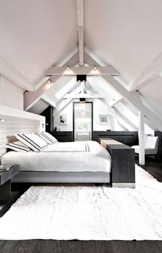 44 Glamorous Loft Style Bedroom Designs Ideas To Try Right Now - Do you want to extend the living capacity of your home, then why not convert your loft space into a bedroom? Bedroom loft conversions are becoming the. Loft Style Bedroom, Attic Master Bedroom, Attic Bedroom Designs, Attic Bedrooms, Bedroom Ideas, Bedroom Inspiration, Bedroom Decor, Attic Loft, Loft Room