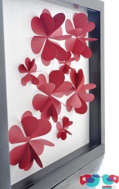 3D Flower Art Using Paper Hearts