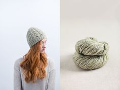 "Far Hills beaded cable hat by Jared Flood. Shown in color ""Foothills"". From Jared Flood's ""Woolens"" Collection. Photographed by Jared Flood. Far Hills, Brooklyn Tweed, Knitting Accessories, The Crown, Shelter, Headbands, Knit Crochet, Cable, Winter Hats"