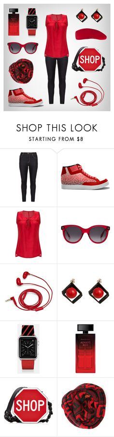 """Red & Black"" streetwear women outfit set by @savousepate on Polyvore"