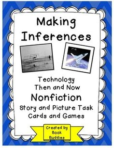 Your kids will have fun Making Inferences with these nonfiction, information filled  story passages and picture cards of lifestyles and technology then and now.   Great for literacy centers, partner and small group, and teacher-led whole group. $