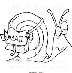 Cartoon Vector of Cartoon Snail Mail - Coloring Page Outline by ...