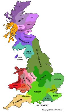 Early British Kingdoms presents a map of Britain as it may have appeared around AD 625 / 10,625 HE
