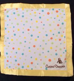 Curious George Yellow White Polka Dot Security Baby  Blanket Lovey Monkey #CulcutBaby