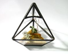 Terrarium - Geometric Pyramid Terrarium - DIY Pyramid Kit - Deer- Lichen- Black Stained Glass