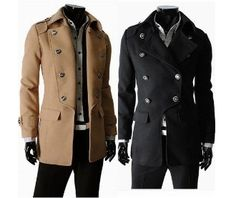 Military Style Men's Double Breasted Coat