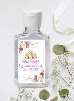 Quincea\u00f1era Sanitizer Labels Quincea\u00f1era Favors Labels Sweet  Sixteen Birthday lLabels Sweet 16 Favors Labels Sweet 16 Sanitizer Labels