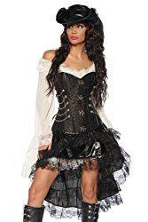 Piratenkostüme, Piraten-Accessoires, Piraten-Kostüm im Steampunk-Look. Steampunk-Corsage, Volant-Rock, Piraten-Hut und Piraten-Kleid.