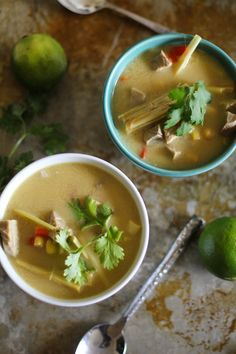 Thai Chicken Soup with lemongrass and coconut milk. Looks so good!