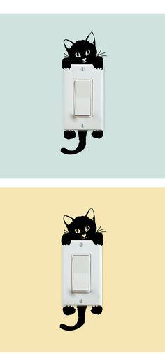 Diy engraçado bonito interruptor gato adesivos de parede adesivos decoração da…