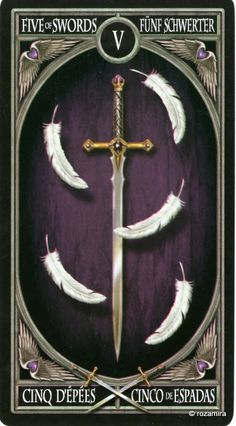 5 d'épées - Tarot gothique par Anne Stokes