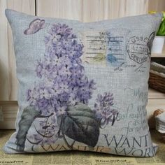 """45cm Vintage Purple Clove Lilac Flowers on Blue Bottom Color Linen Cushion Cover :         .        Product name: Cushion Cover CC04  Size:18""""x18"""" (45cmx45cm)  Material: Linen Cotton  Hidden Zip closure  Cushion Cover only, Price is for 1pc.    Remark:   1.The Printing is in the front, no printing only natural color of linen in the back.  2.All cushions are handmade, so please u...Check Price >> http://gethotprice.com/appin/?t=B008LK09AM"""