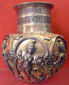 Decorated bottle showing a dancing girl. Ancient History, Art History, Parthian Empire, Middle East Culture, Sassanid, Achaemenid, Ancient Persian, Ancient Mesopotamia, Hermitage Museum