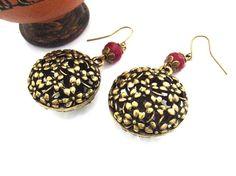 Flower charm bold bronze pink earrings
