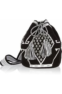 WAYÚU TAYA Mochilla hand-woven cotton shoulder bag Hand-woven Black, white and pale-green cotton Shoulder strap Designer-stamped wooden disc Tasseled drawstring fastening at top Designer color: Black/ White/ Gray Each bag is handmade and totally unique. Tapestry Bag, Tapestry Crochet, My Bags, Purses And Bags, Mochila Crochet, Crochet Purses, Knitted Bags, Bead Crochet, Handmade Bags