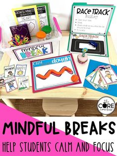 Mindfulness activities for a calming down space.