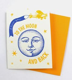 To The Moon & Back Letterpress Greeting Card, Set of 5 by Color Box Letterpress on Scoutmob Shoppe