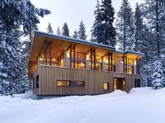 This Tahoe home is the work of John Maniscalco Architecture (also on Houzz). I love the way all the traditional features of an alpine cabin – from the wood-clad walls to the fireplace to the fabrics – are reinvented with a more modern twist. Just beautiful.