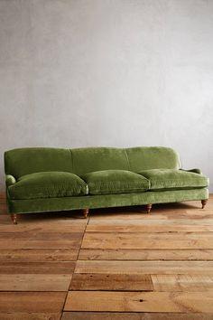 Anthropologie Furniture, Living Room And Kitchen Design, Green Velvet Sofa, Velvet Furniture, Home Comforts, Dream Apartment, Living Room Colors, Take A Seat, Cushions On Sofa