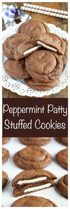 Chocolate cookies stuffed with peppermint patties. These Peppermint Patty Stuffed Chocolate Cookies are a perfect treat for any time of year!