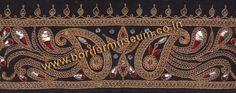 Twisted Zari Marodi work Border with Antique Metal Sequins, Badla & Red Silk Thread.