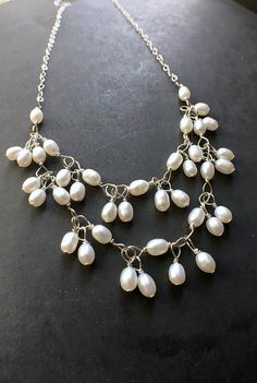 Pearl Statement Necklace Pearl Bib Necklace Pearl Necklace