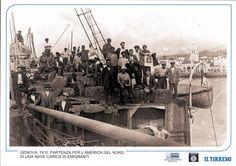 Genova, 1910. Partenza per l'America del Nord di una nave carica di migranti.