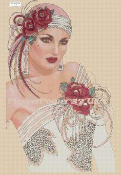 http://www.ebay.co.uk/itm/Cross-stitch-chart-Art-Deco-Lady-No-97-free-uk-P-p-/361430429103
