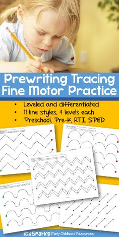 Fine Motor Skills Tracing Pre-Writing Practice Preschool 38 pages of fine motor practice – print and laminate for wipe-off centers. Preschool Writing, Preschool Curriculum, Preschool Learning, Writing Activities, Early Learning, Kindergarten, Homeschooling, Teaching, Motor Skills Activities
