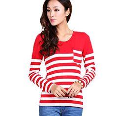 FINEJO Women Junior Stripes Stitching Long Sleeve Stretchy Blouse Shirt Finejo http://www.amazon.com/dp/B00OKF862K/ref=cm_sw_r_pi_dp_Nj9yub1G9BWAG
