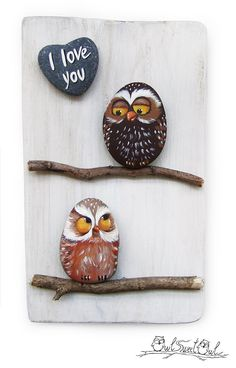Unique Handmade 'I Love You' Owls Artwork | 3-D Painting Made with Painted…