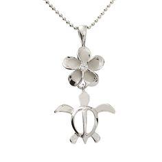 12mm Plumeria CZ Honu(Hawaii Turtle) Necklace(Chain Included) - Makani Hawaii,Hawaiian Heirloom Jewelry Wholesaler and Manufacturer