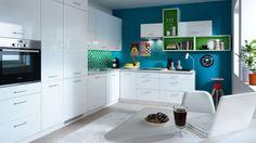 New HIGH GLOSS WHITE Kitchen Set Tapo Plus | Modern Corner Complete Kitchen LED